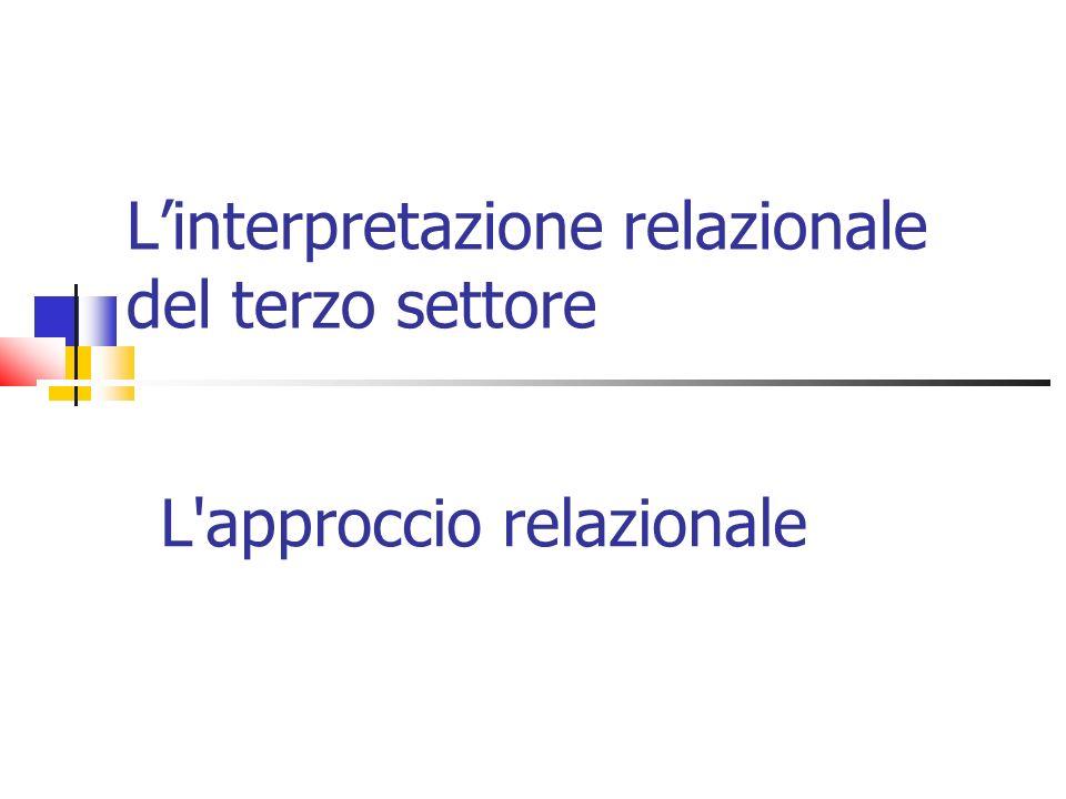 Linterpretazione relazionale del terzo settore L'approccio relazionale