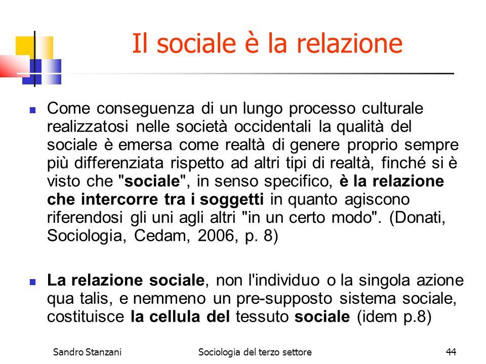 Sandro StanzaniSociologia del terzo settore44 Il sociale è la relazione Come conseguenza di un lungo processo culturale realizzatosi nelle società occ
