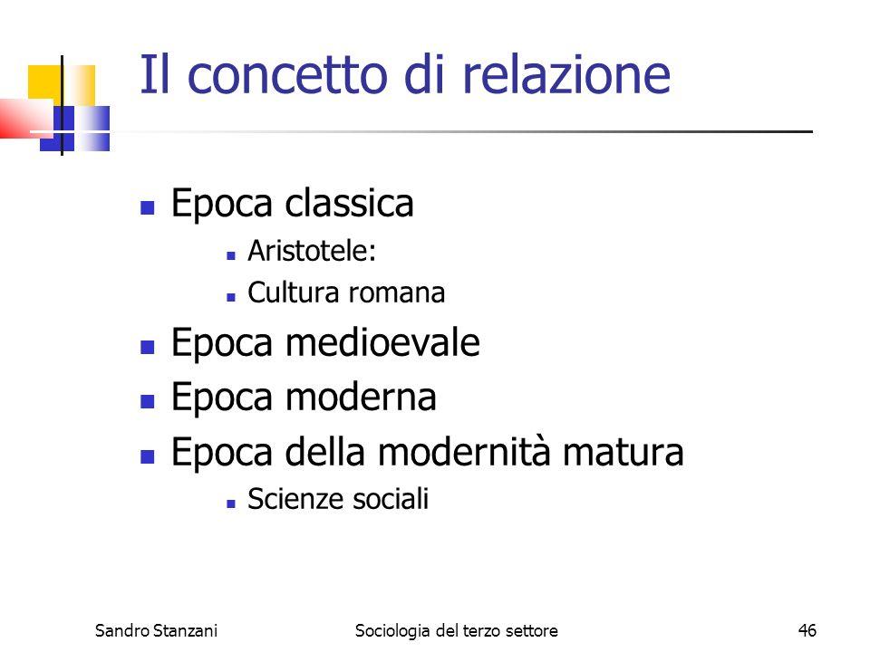 Sandro StanzaniSociologia del terzo settore46 Il concetto di relazione Epoca classica Aristotele: Cultura romana Epoca medioevale Epoca moderna Epoca