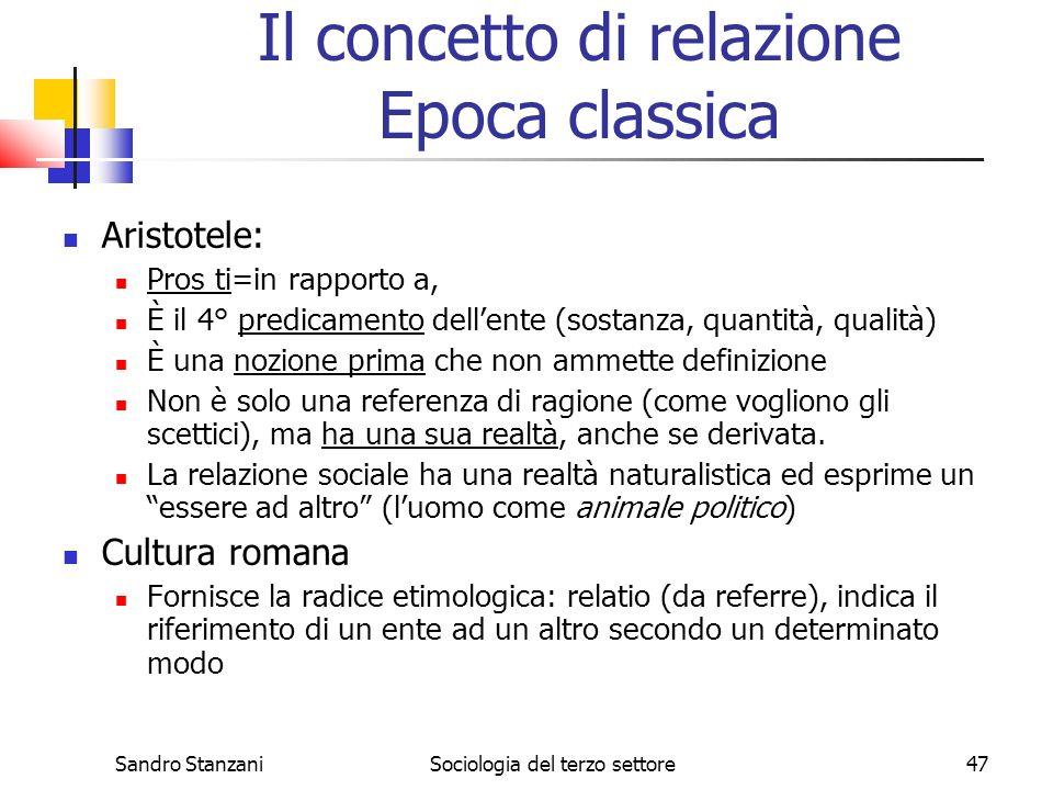 Sandro StanzaniSociologia del terzo settore47 Il concetto di relazione Epoca classica Aristotele: Pros ti=in rapporto a, È il 4° predicamento dellente