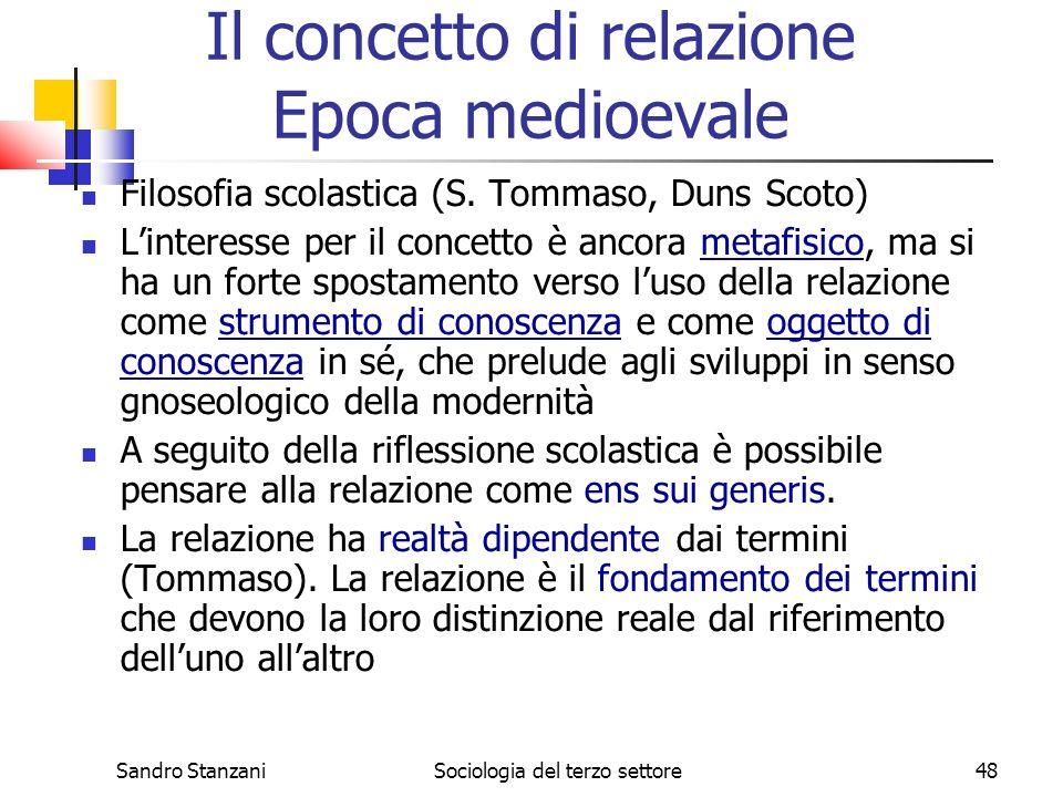Sandro StanzaniSociologia del terzo settore48 Filosofia scolastica (S.