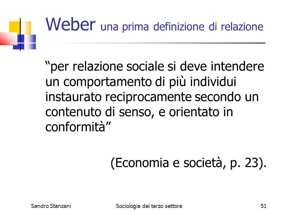 Sandro StanzaniSociologia del terzo settore51 Weber una prima definizione di relazione per relazione sociale si deve intendere un comportamento di più individui instaurato reciprocamente secondo un contenuto di senso, e orientato in conformità (Economia e società, p.