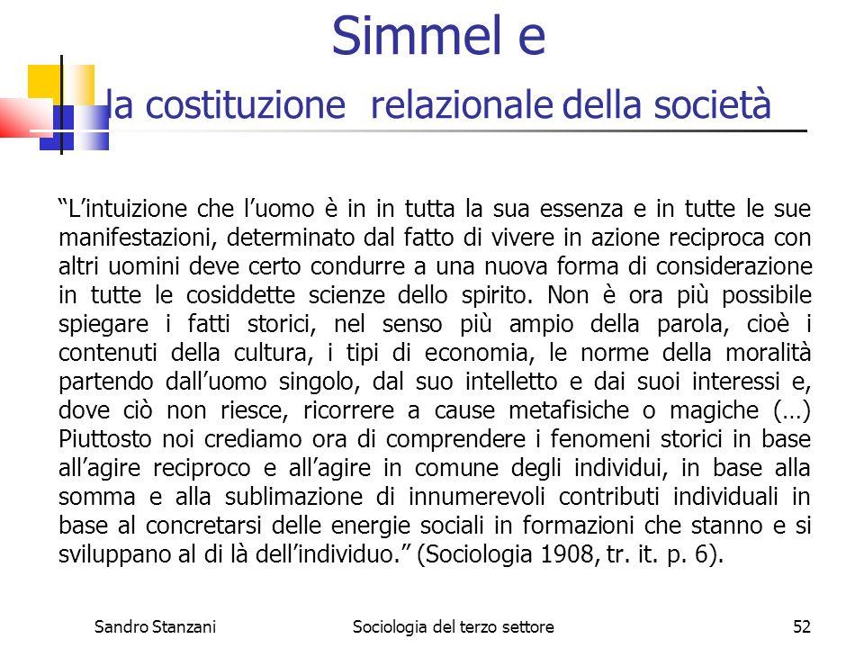 Sandro StanzaniSociologia del terzo settore52 Simmel e la costituzione relazionale della società Lintuizione che luomo è in in tutta la sua essenza e