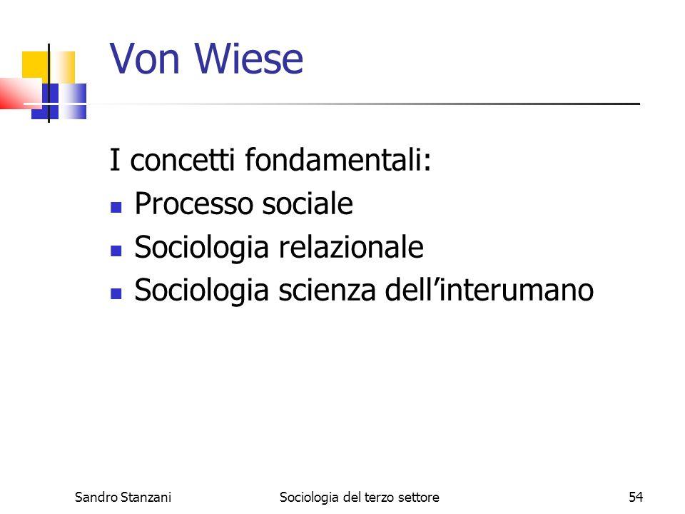 Sandro StanzaniSociologia del terzo settore54 Von Wiese I concetti fondamentali: Processo sociale Sociologia relazionale Sociologia scienza dellinteru