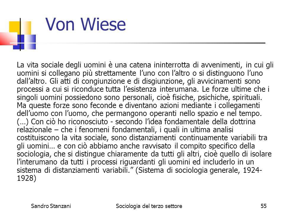 Sandro StanzaniSociologia del terzo settore55 Von Wiese La vita sociale degli uomini è una catena ininterrotta di avvenimenti, in cui gli uomini si collegano più strettamente luno con laltro o si distinguono luno dallaltro.