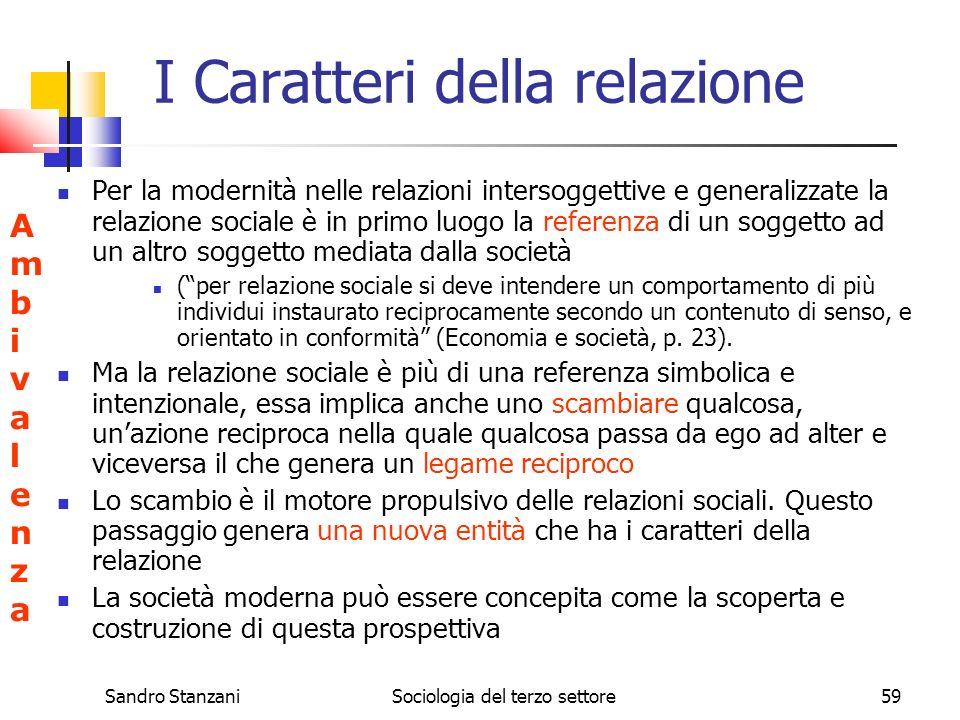 Sandro StanzaniSociologia del terzo settore59 I Caratteri della relazione Per la modernità nelle relazioni intersoggettive e generalizzate la relazion
