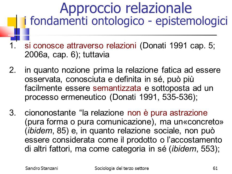 Sandro StanzaniSociologia del terzo settore61 Approccio relazionale i fondamenti ontologico - epistemologici 1.si conosce attraverso relazioni (Donati 1991 cap.