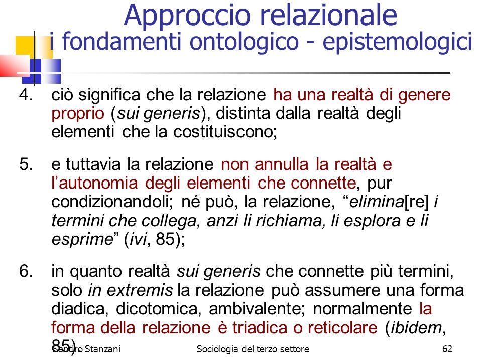 Sandro StanzaniSociologia del terzo settore62 4.ciò significa che la relazione ha una realtà di genere proprio (sui generis), distinta dalla realtà de