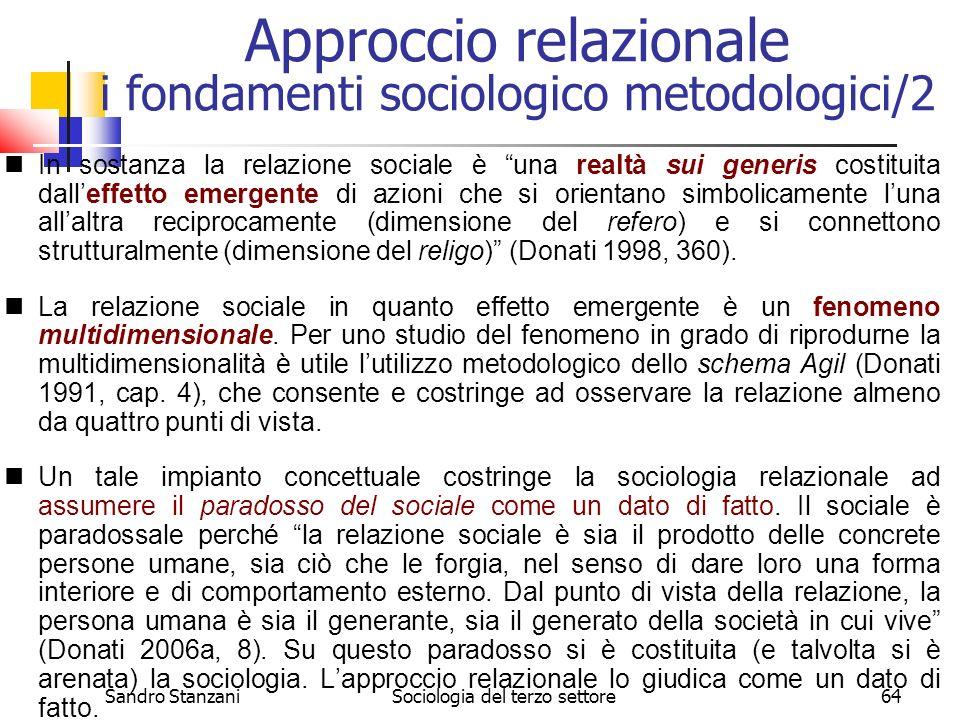 Sandro StanzaniSociologia del terzo settore64 In sostanza la relazione sociale è una realtà sui generis costituita dalleffetto emergente di azioni che