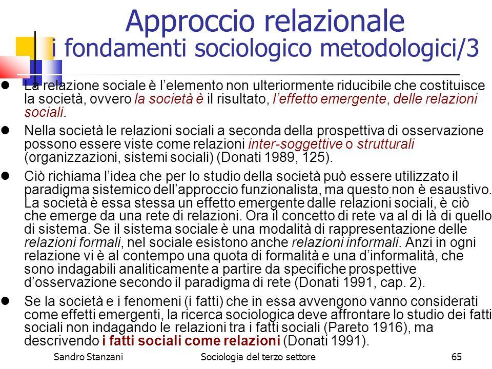 Sandro StanzaniSociologia del terzo settore65 La relazione sociale è lelemento non ulteriormente riducibile che costituisce la società, ovvero la società è il risultato, leffetto emergente, delle relazioni sociali.