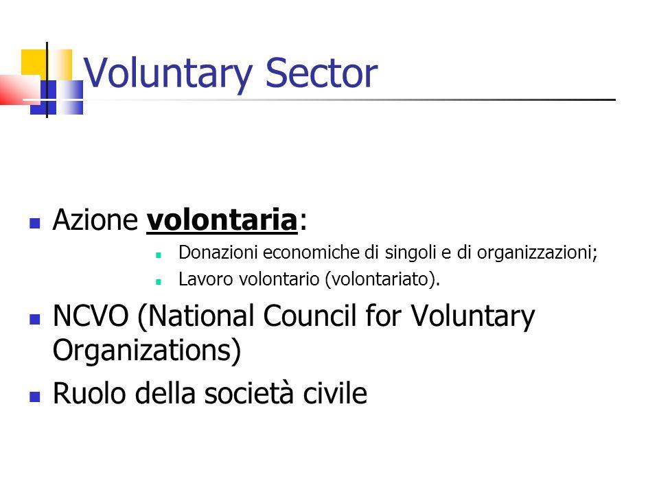 Voluntary Sector Azione volontaria: Donazioni economiche di singoli e di organizzazioni; Lavoro volontario (volontariato). NCVO (National Council for