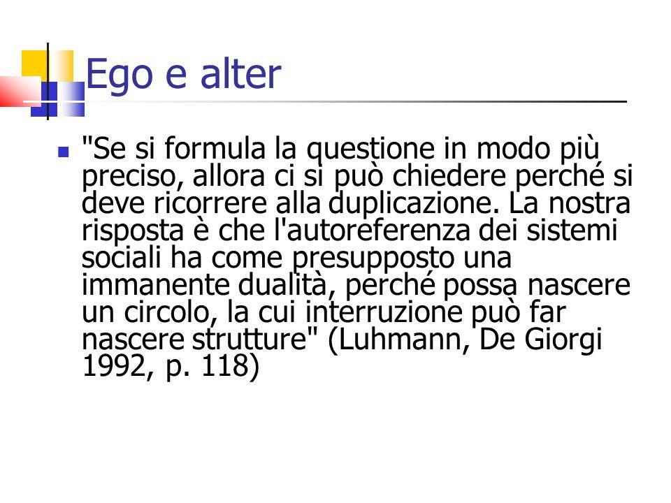 Ego e alter Se si formula la questione in modo più preciso, allora ci si può chiedere perché si deve ricorrere alla duplicazione.
