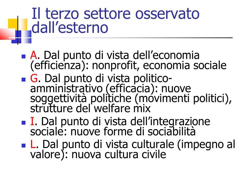 Il terzo settore osservato dallesterno A. Dal punto di vista delleconomia (efficienza): nonprofit, economia sociale G. Dal punto di vista politico- am