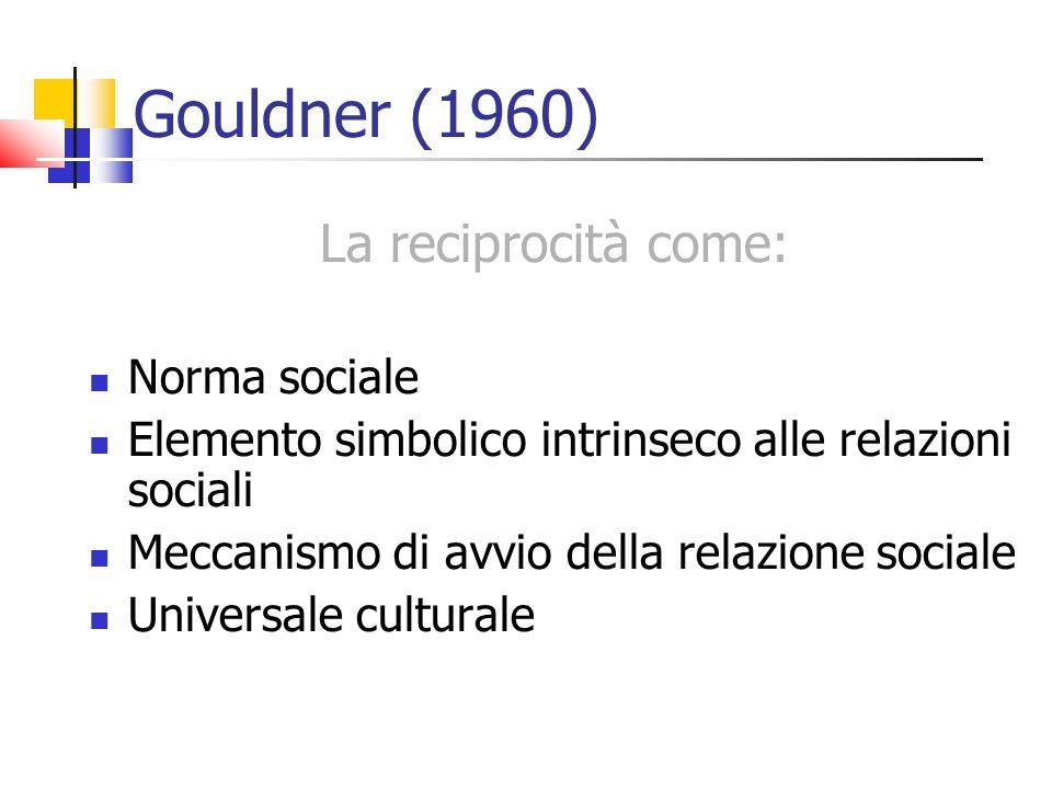 Gouldner (1960) La reciprocità come: Norma sociale Elemento simbolico intrinseco alle relazioni sociali Meccanismo di avvio della relazione sociale Universale culturale