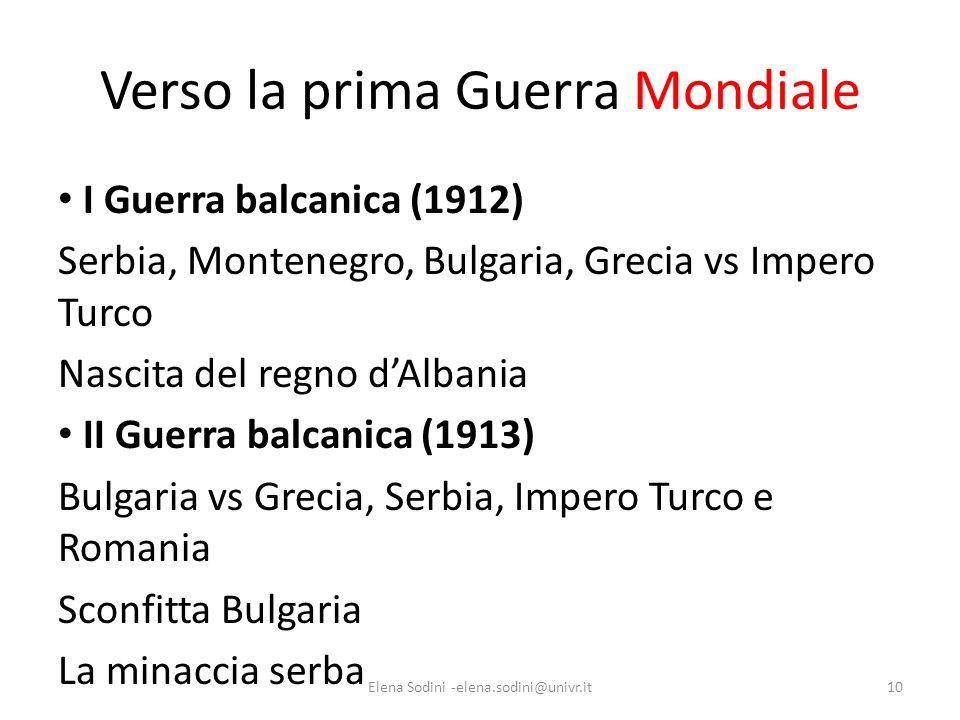 Verso la prima Guerra Mondiale I Guerra balcanica (1912) Serbia, Montenegro, Bulgaria, Grecia vs Impero Turco Nascita del regno dAlbania II Guerra bal