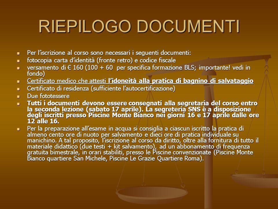 RIEPILOGO DOCUMENTI Per liscrizione al corso sono necessari i seguenti documenti: Per liscrizione al corso sono necessari i seguenti documenti: fotoco