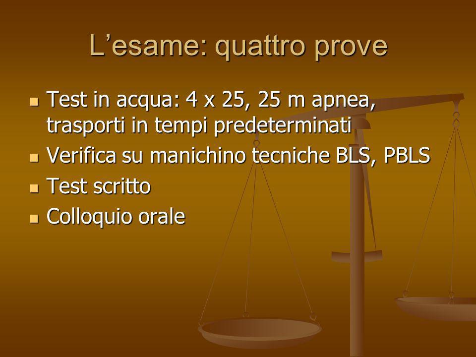 Lesame: quattro prove Test in acqua: 4 x 25, 25 m apnea, trasporti in tempi predeterminati Test in acqua: 4 x 25, 25 m apnea, trasporti in tempi prede