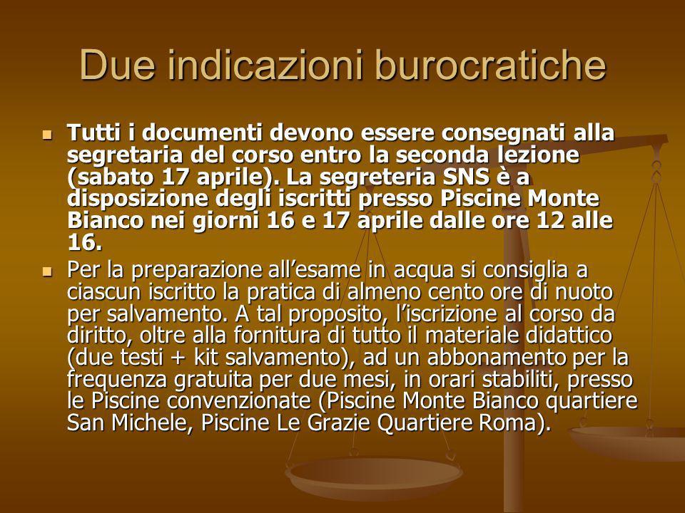 Due indicazioni burocratiche Tutti i documenti devono essere consegnati alla segretaria del corso entro la seconda lezione (sabato 17 aprile). La segr