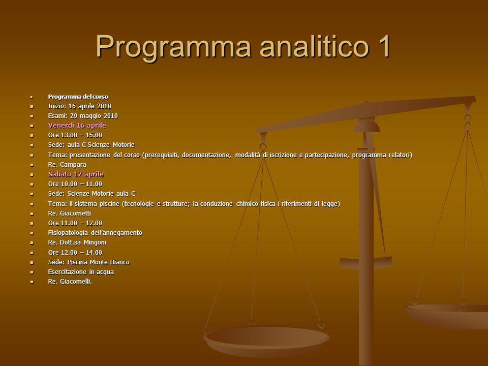 Programma analitico 1 Programma del corso Programma del corso Inizio: 16 aprile 2010 Inizio: 16 aprile 2010 Esami: 29 maggio 2010 Esami: 29 maggio 201