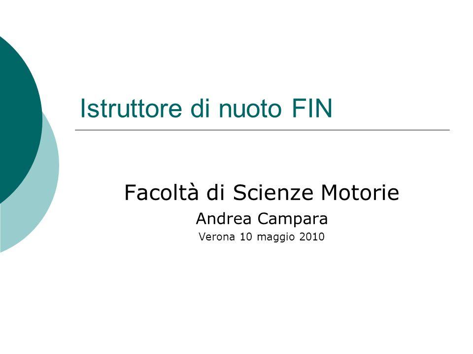 Istruttore di nuoto FIN Facoltà di Scienze Motorie Andrea Campara Verona 10 maggio 2010