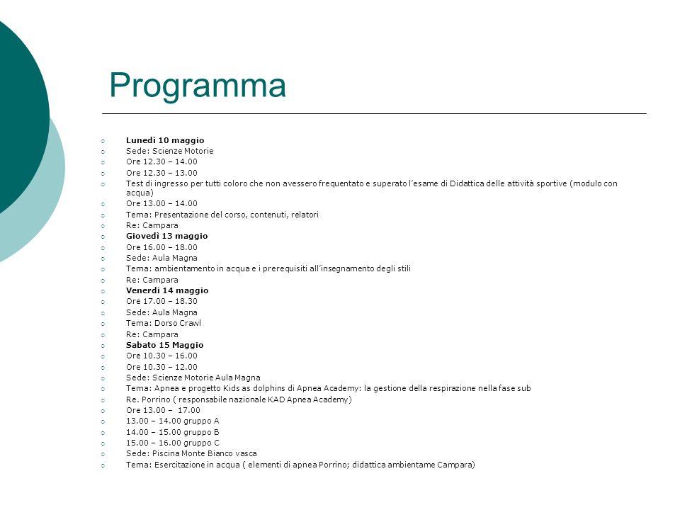 Programma Lunedi 17 maggio Ore: 17.00 – 19.00 Sede: Aula Magna Tema: Rana – Delfino Tema: Partenze e virate Re.