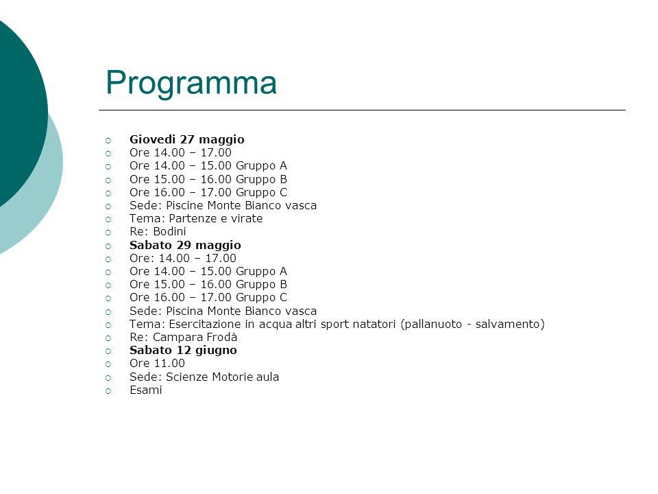 Programma Giovedi 27 maggio Ore 14.00 – 17.00 Ore 14.00 – 15.00 Gruppo A Ore 15.00 – 16.00 Gruppo B Ore 16.00 – 17.00 Gruppo C Sede: Piscine Monte Bia