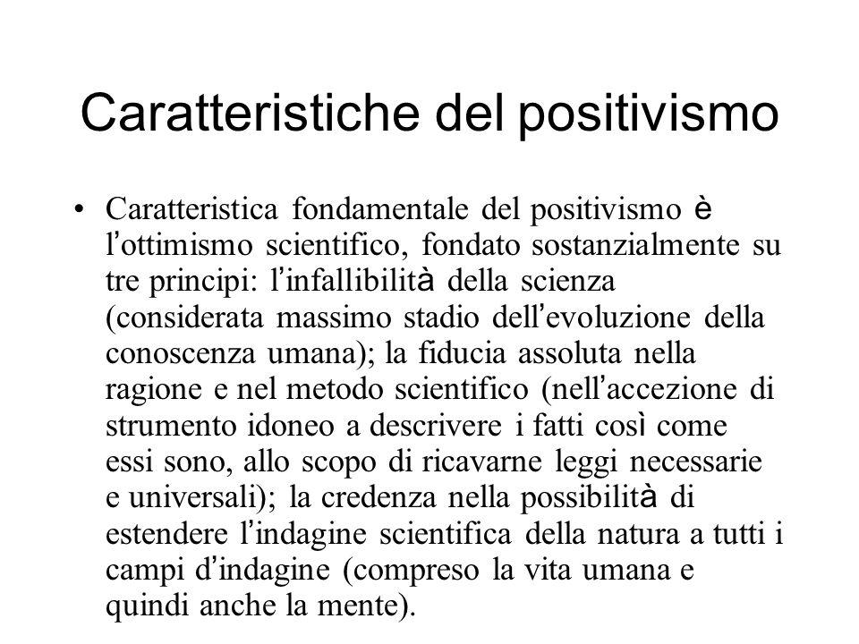 Caratteristiche del positivismo Caratteristica fondamentale del positivismo è l ottimismo scientifico, fondato sostanzialmente su tre principi: l infa