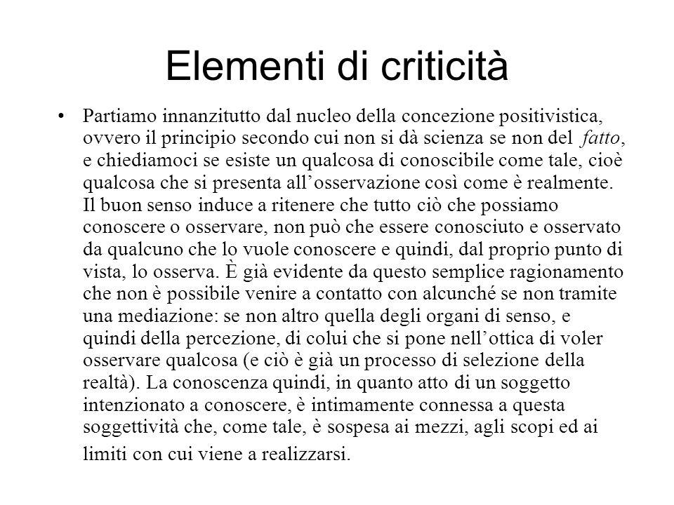 Elementi di criticità Partiamo innanzitutto dal nucleo della concezione positivistica, ovvero il principio secondo cui non si dà scienza se non del fa
