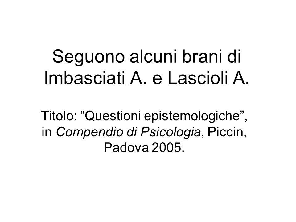 Seguono alcuni brani di Imbasciati A. e Lascioli A. Titolo: Questioni epistemologiche, in Compendio di Psicologia, Piccin, Padova 2005.