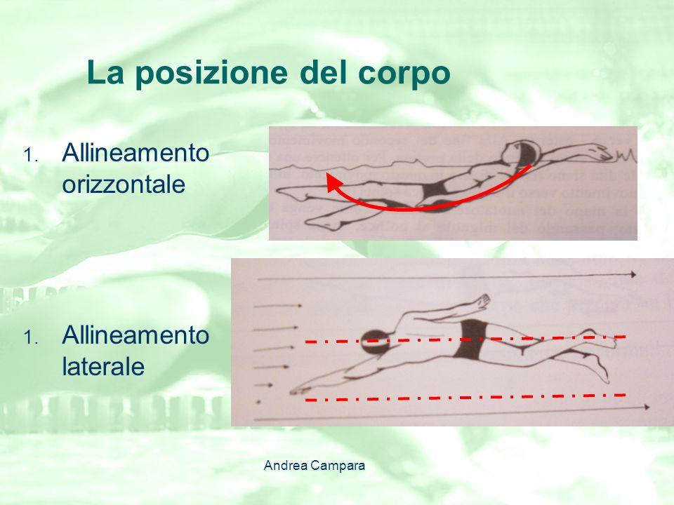 La Coordinazione La coordinazione tra le braccia: Deve assicurare continuità alla propulsione; il braccio entra in acqua mentre laltro completa la spinta a palmo in giù 2 La coordinazione braccia-gambe: sei gambate per ogni ciclo Andrea Campara