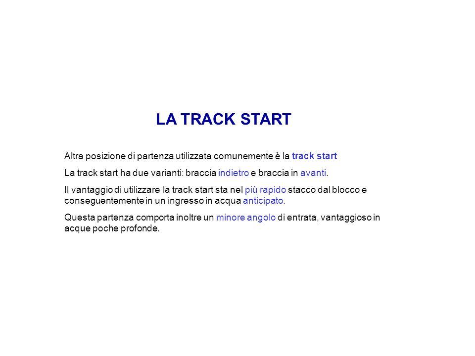 LA TRACK START Altra posizione di partenza utilizzata comunemente è la track start La track start ha due varianti: braccia indietro e braccia in avant
