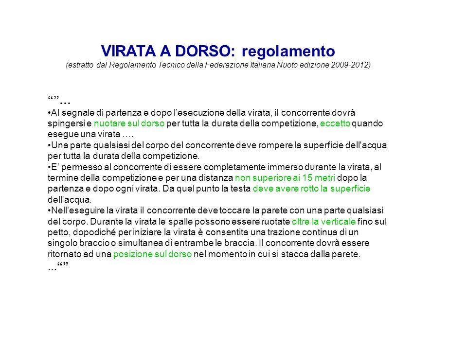 VIRATA A DORSO: regolamento (estratto dal Regolamento Tecnico della Federazione Italiana Nuoto edizione 2009-2012) … Al segnale di partenza e dopo les