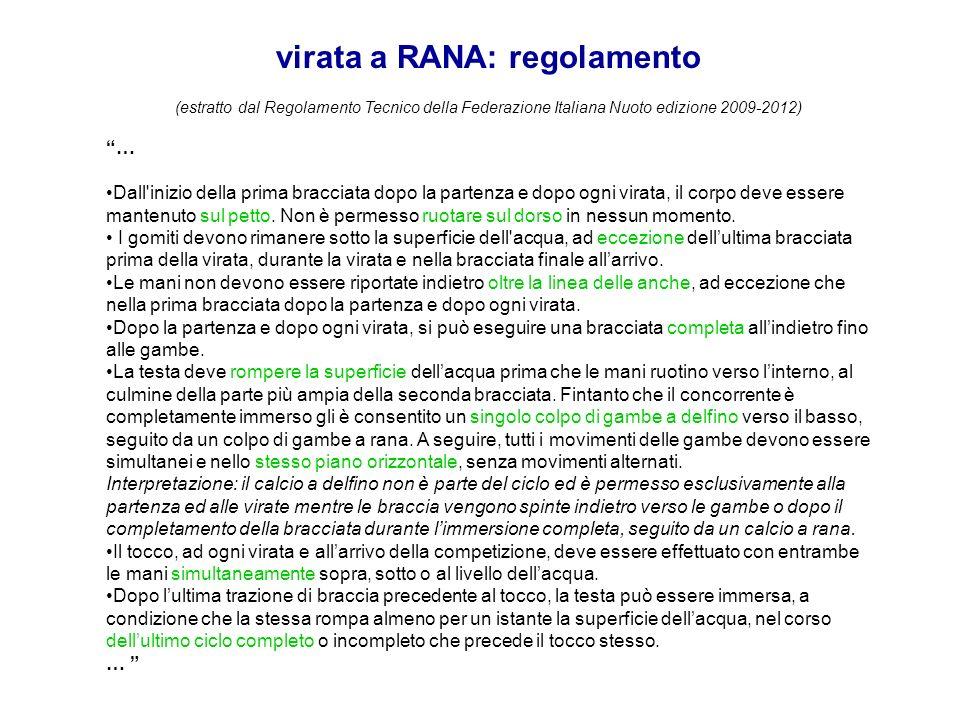 virata a RANA: regolamento (estratto dal Regolamento Tecnico della Federazione Italiana Nuoto edizione 2009-2012) … Dall'inizio della prima bracciata