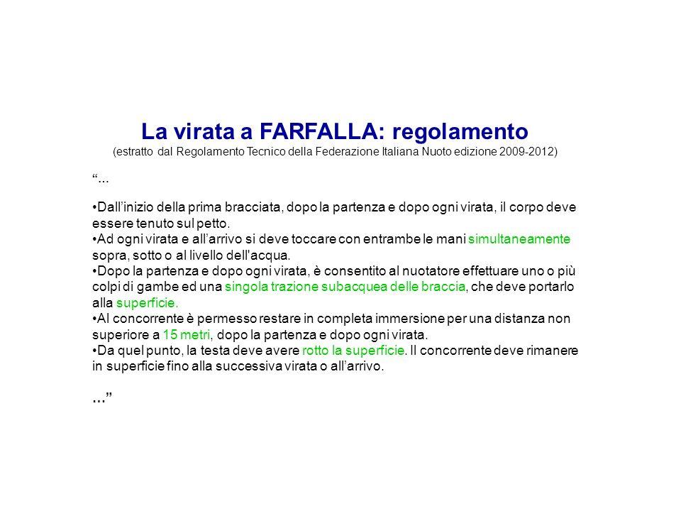 La virata a FARFALLA: regolamento (estratto dal Regolamento Tecnico della Federazione Italiana Nuoto edizione 2009-2012) … Dallinizio della prima brac