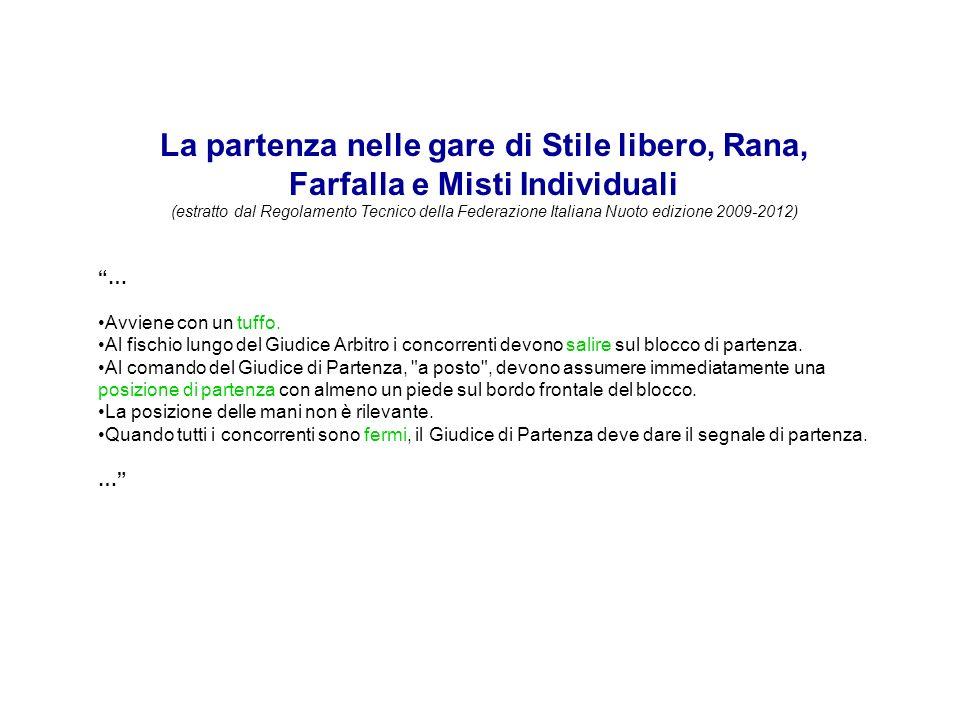 La partenza nelle gare di Stile libero, Rana, Farfalla e Misti Individuali (estratto dal Regolamento Tecnico della Federazione Italiana Nuoto edizione