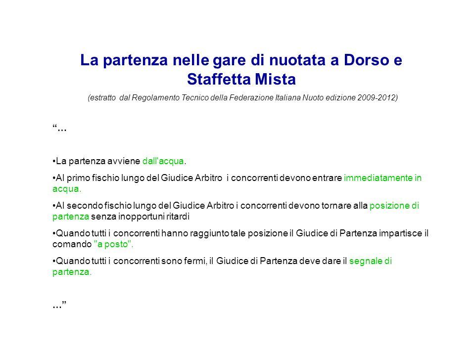 La partenza nelle gare di nuotata a Dorso e Staffetta Mista (estratto dal Regolamento Tecnico della Federazione Italiana Nuoto edizione 2009-2012) … La partenza avviene dall acqua.