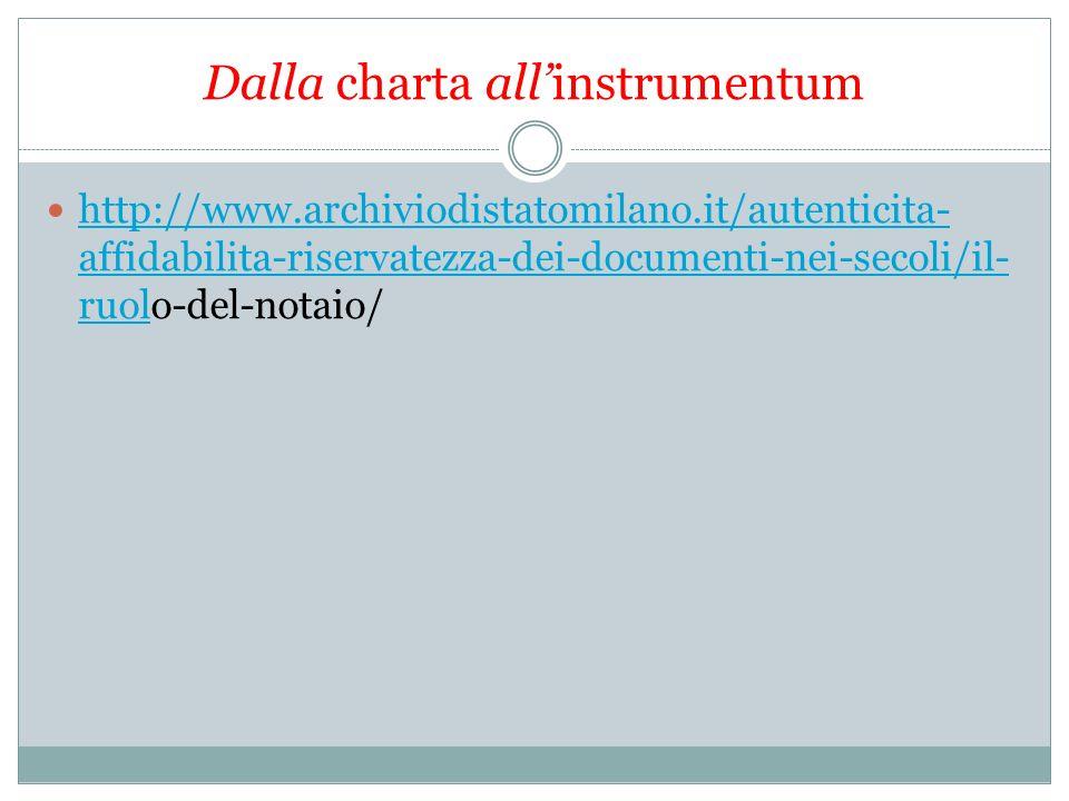 Dalla charta allinstrumentum http://www.archiviodistatomilano.it/autenticita- affidabilita-riservatezza-dei-documenti-nei-secoli/il- ruolo-del-notaio/ http://www.archiviodistatomilano.it/autenticita- affidabilita-riservatezza-dei-documenti-nei-secoli/il- ruol