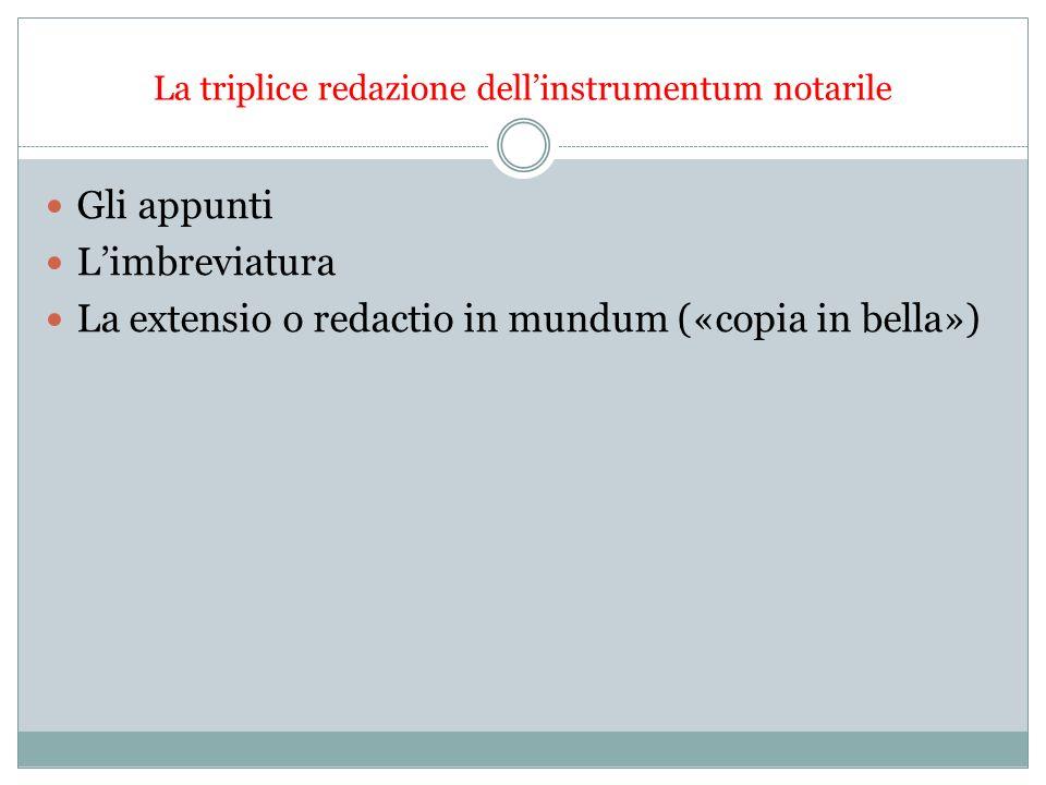 La triplice redazione dellinstrumentum notarile Gli appunti Limbreviatura La extensio o redactio in mundum («copia in bella»)