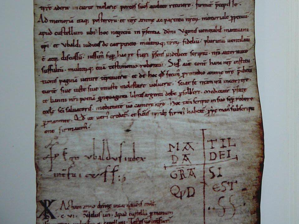 1106 gennaio 9 Matilde tiene un placito (tribunale) e si esprime in favore della gente di Melara, del monastero di S.