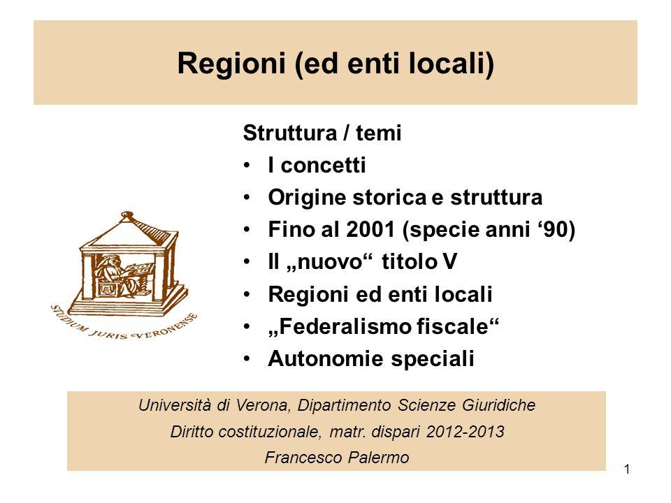 1 Regioni (ed enti locali) Università di Verona, Dipartimento Scienze Giuridiche Diritto costituzionale, matr.