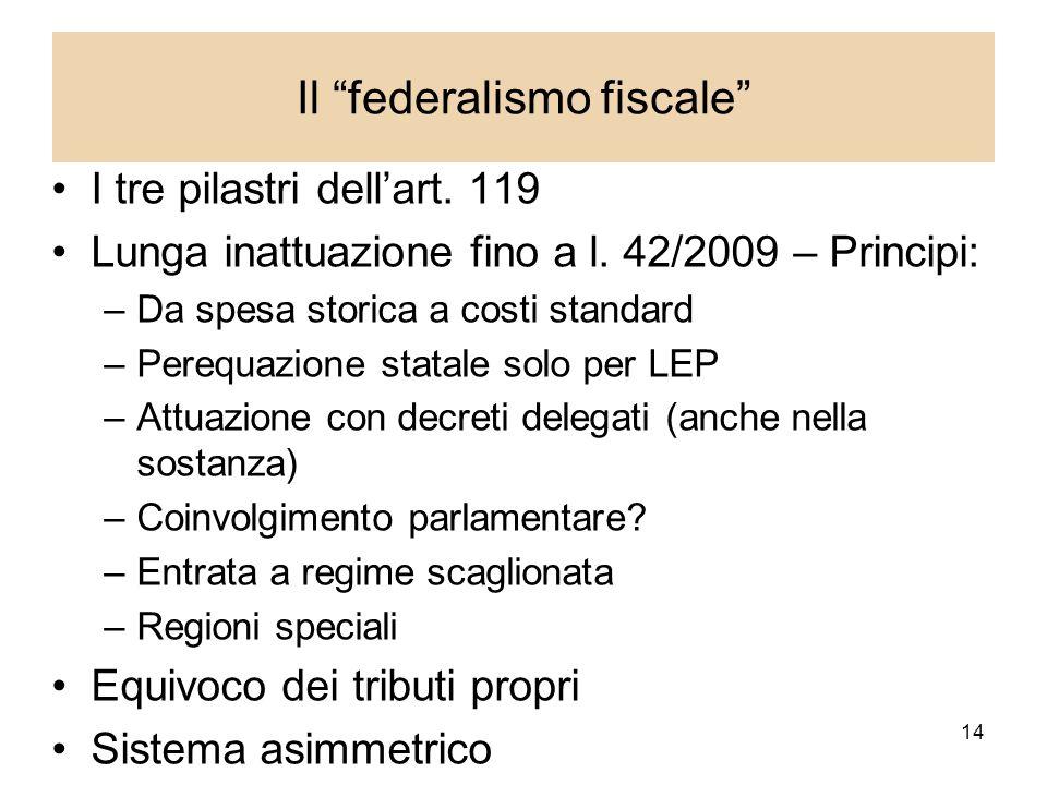 14 Il federalismo fiscale I tre pilastri dellart. 119 Lunga inattuazione fino a l.