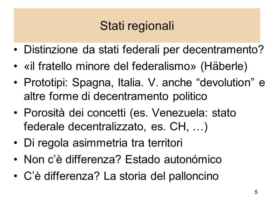 5 Stati regionali Distinzione da stati federali per decentramento.