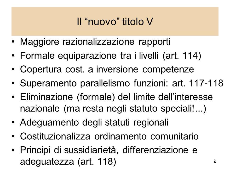 9 Il nuovo titolo V Maggiore razionalizzazione rapporti Formale equiparazione tra i livelli (art.