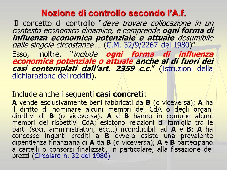 Nozione di controllo secondo lA.f. Il concetto di controllo deve trovare collocazione in un contesto economico dinamico, e comprende ogni forma di inf