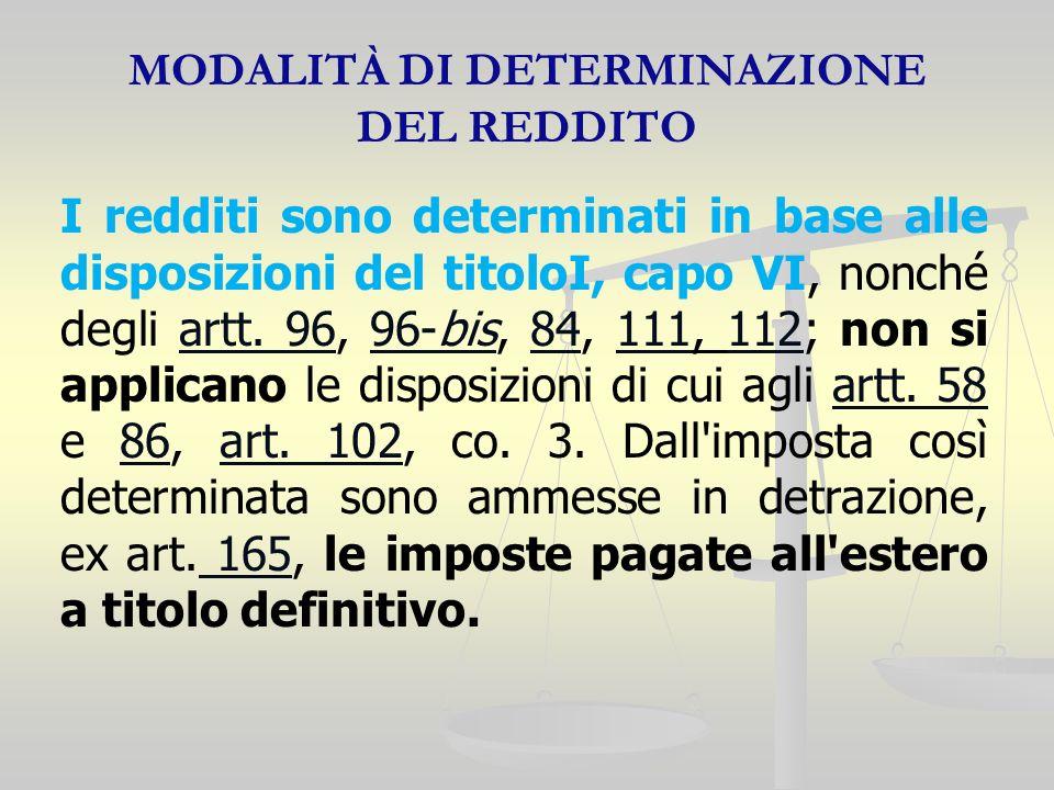 MODALITÀ DI DETERMINAZIONE DEL REDDITO I redditi sono determinati in base alle disposizioni del titoloI, capo VI, nonché degli artt. 96, 96-bis, 84, 1