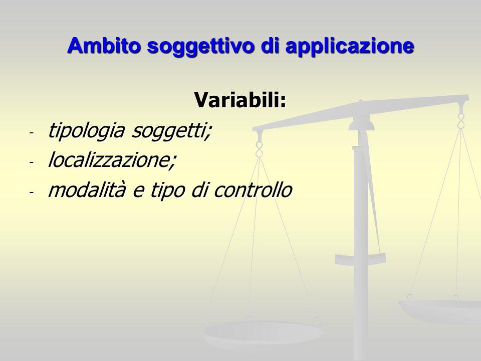 Ambito soggettivo di applicazione Variabili: - tipologia soggetti; - localizzazione; - modalità e tipo di controllo