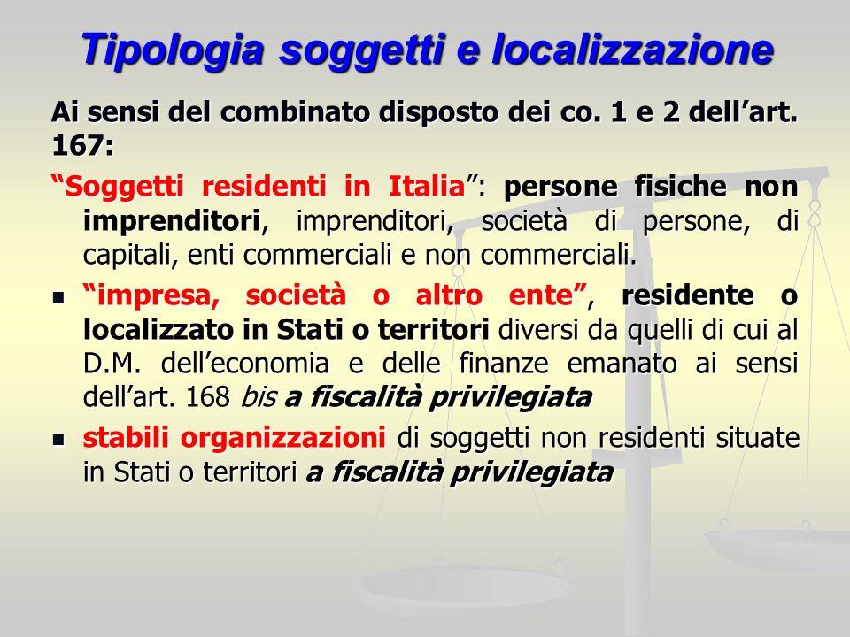 Tipologia soggetti e localizzazione Ai sensi del combinato disposto dei co. 1 e 2 dellart. 167: Soggetti residenti in Italia: persone fisiche non impr