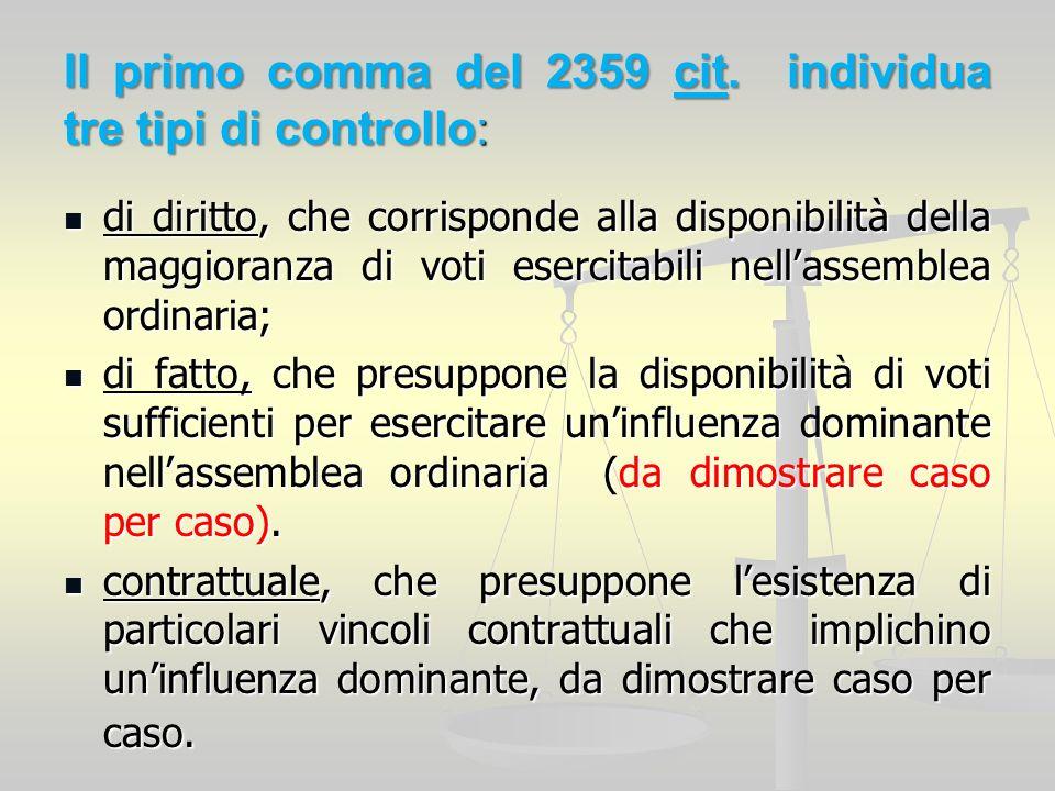 Il primo comma del 2359 cit. individua tre tipi di controllo: di diritto, che corrisponde alla disponibilità della maggioranza di voti esercitabili ne