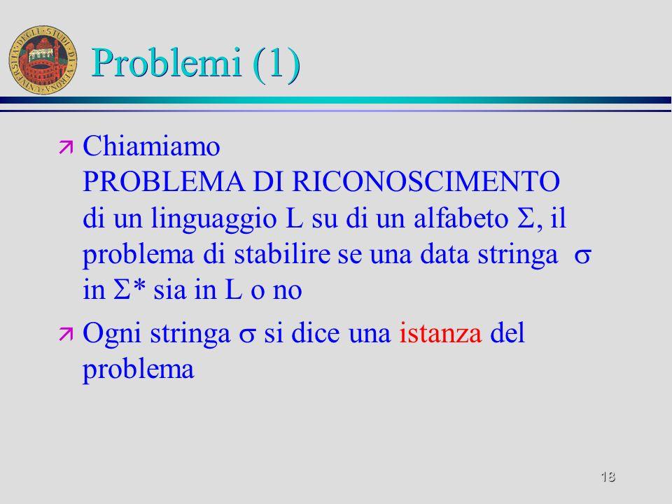 18 Problemi (1) ä Chiamiamo PROBLEMA DI RICONOSCIMENTO di un linguaggio L su di un alfabeto, il problema di stabilire se una data stringa in * sia in L o no ä Ogni stringa si dice una istanza del problema