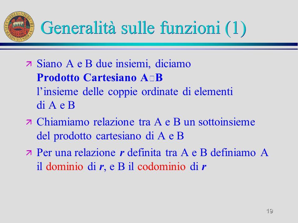 19 Generalità sulle funzioni (1) ä Siano A e B due insiemi, diciamo Prodotto Cartesiano A B linsieme delle coppie ordinate di elementi di A e B ä Chiamiamo relazione tra A e B un sottoinsieme del prodotto cartesiano di A e B ä Per una relazione r definita tra A e B definiamo A il dominio di r, e B il codominio di r
